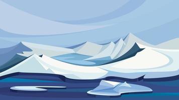 paesaggio artico con montagne di ghiaccio. vettore