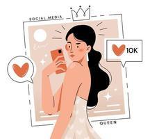 giovane ragazza alla moda fa selfie vettore