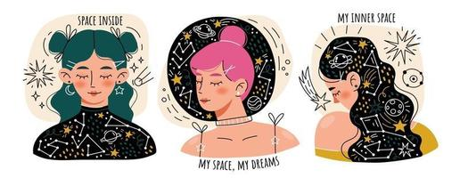 sognando ragazze giovani con gli occhi chiusi vettore