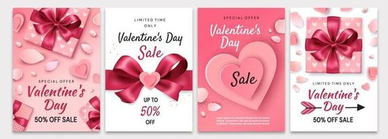 poster di vendita di san valentino. composizione romantica con cuori vettore