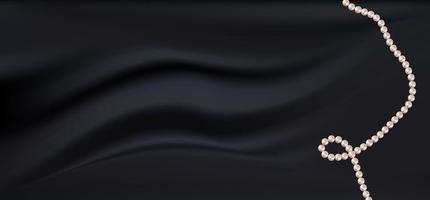 sfondo realistico tessuto di raso di seta nero scuro con perle. illustrazione vettoriale