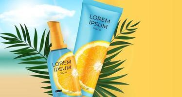 Bottiglia di crema solare di vitamina C realistica 3d. modello di progettazione del prodotto di cosmetici di moda. illustrazione vettoriale