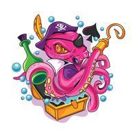 Tatuaggi Octopus Pirate of New Skool vettore