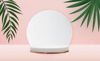 piedistalli bianchi 3d realistici su sfondo rosa con palme. display podio vuoto alla moda per la presentazione di prodotti cosmetici, rivista di moda. copia spazio illustrazione vettoriale