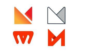 iniziale m monogramma logo astratto ispirazione creativa design illustrazione vettore