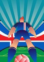 Il calciatore della coppa del Mondo dell'Islanda posa