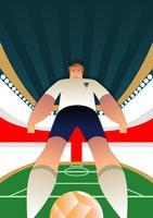 Posa del giocatore di calcio della coppa del mondo dell'Inghilterra