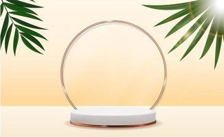 piedistallo 3d realistico su sfondo soleggiato con foglia di palma. display a podio vuoto alla moda per annunci di presentazione di prodotti cosmetici, rivista di moda. illustrazione vettoriale