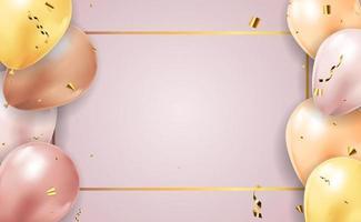 sfondo realistico 3d complimenti con palloncini e coriandoli, vacanze, compleanno, carta di promozione, poster. illustrazione vettoriale