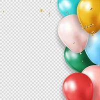 palloncino 3d realistico e sfondo trasparente coriandoli per festa, vacanza, compleanno, carta di promozione, poster. illustrazione vettoriale