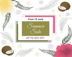 banner di saldi estivi con cocco, fiori tropicali e foglie di palma. disegno floreale esotico. perfetto per banner, volantini, inviti, poster, siti web o biglietti di auguri. vettore