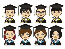 set di icone del profilo di laurea vettore