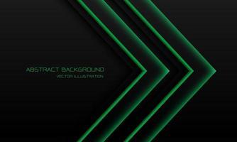 direzione della freccia al neon della luce verde astratta sul nero con l'illustrazione futuristica moderna di vettore del fondo di tecnologia di progettazione dello spazio vuoto.