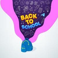torna al concetto di vettore di scuola con elementi di borsa e doodle