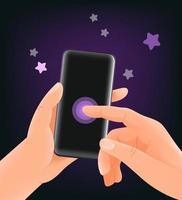 utilizzando la moderna illustrazione vettoriale smartphone. mockup di vettore