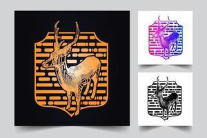 illustrazione del distintivo di cervo vettore