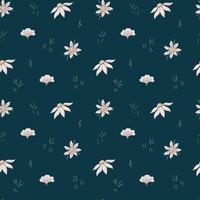 Reticolo senza giunte di margherite beige selvatiche e foglie sottili verde scuro su uno sfondo scuro. carta digitale. vettore
