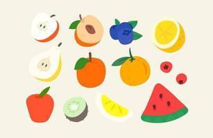 insieme di vettore di elementi artistici di doodle creativo. illustrazione di stile abbozzato. frutta