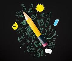 matita con scarabocchi elementi illustrazione vettoriale
