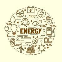 set di icone di energia minima linea sottile vettore