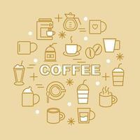 icone di contorno minimo di caffè vettore