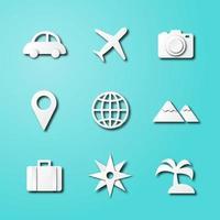 icone di arte di carta di viaggio vettore