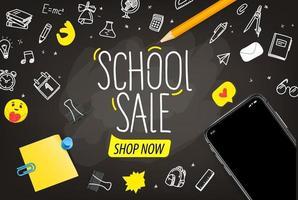 concetto di vettore di vendita di scuola con iscrizione scritta