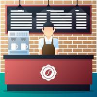 Barista che sta davanti al contatore con la macchina del caffè nell'illustrazione della caffetteria