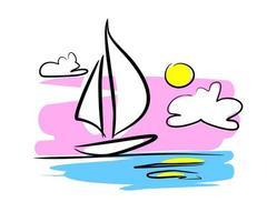 barca a vela al tramonto - illustrazione vettoriale su sfondo bianco
