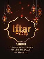 iftar party flyer celebrazione con lanterna dorata araba vettore