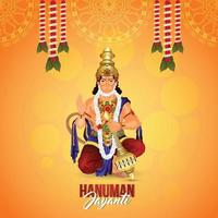 illustrazione vettoriale di Lord Hanuman con ghirlanda di fiori