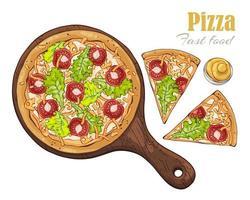 vettore. pizza a tema fast food su una tavola. vettore