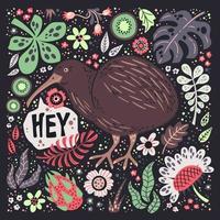 illustrazioni disegnate a mano piatto vettoriale. simpatico uccello kiwi con piante e fiori. vettore