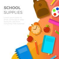 Rifornimenti di scuola piane con l'illustrazione di vettore del fondo di pendenza