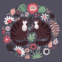 illustrazioni disegnate a mano piatto vettoriale. simpatici gatti con piante e fiori. vettore