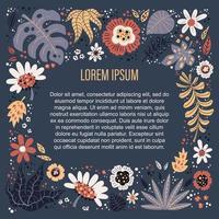 illustrazioni disegnate a mano piatto vettoriale. posto per il tuo testo circondato da piante e fiori. vettore