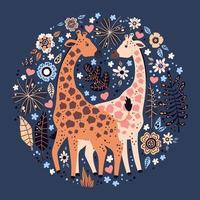 giraffe disegnate a mano piatte di vettore circondate da fiori e piante tropicali.