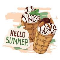 gelato vettoriale in coni di cialda decorati con frutti di bosco, cioccolato o noci.