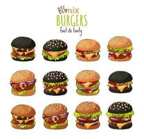 grande set con diversi hamburger vettore