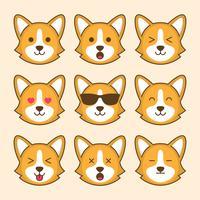Emoticon di cane Corgi carino
