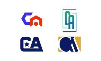 illustrazione di vettore del modello logo iniziale ac, ca, a, c