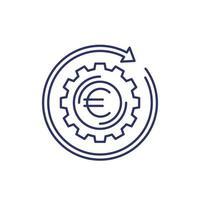 fintech, icona di operazione finanziaria con euro, vettore di linea