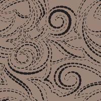 trama geometrica vettoriale in nero su sfondo marrone. spirali e linee di forme semplici modello per tessuti o carta.
