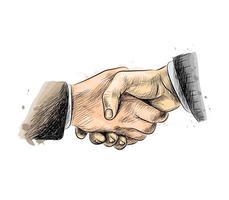 uomini d'affari si stringono la mano, finendo per incontrarsi da una spruzzata di acquerello, schizzo disegnato a mano. illustrazione vettoriale di vernici