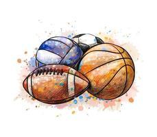 collezione di palline sportive calcio pallacanestro pallavolo da una spruzzata di acquerello, schizzo disegnato a mano. illustrazione vettoriale di vernici