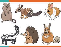 set di personaggi comici animali divertenti del fumetto vettore