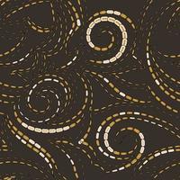 trama geometrica vettoriale con tratti su uno sfondo scuro. spirali e linee di forme semplici modello per tessuti o carta.