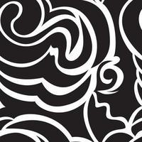trama nera senza soluzione di continuità di spirali e riccioli. modello monocromatico. vettore