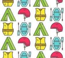 Modello senza cuciture dell'attrezzatura di rafting. Stile outdoor, design a colori a linee sottili. Elementi eleganti per il web, applicazioni mobili, banner, volantini, poster, brochure. Vettore