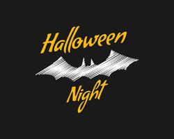 Felice notte di Halloween party card. pipistrello di Halloween, design scuro. Sfondo, poster e banner. Design piatto per la celebrazione di Halloween. Vettore